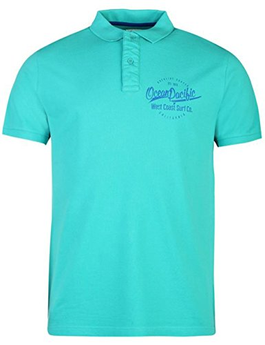 mens-stylish-breathable-washed-polo-shirt-top-large-teal