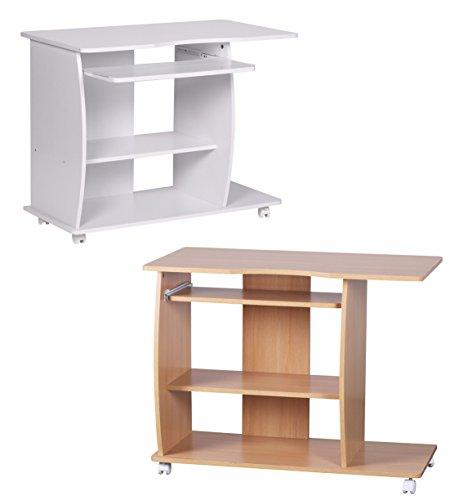 FineBuy-DAVID-Computertisch-mit-Rollen-fahrbar-klein-90cm-breit-Tastaturauszug-ausziehen-Holz-PC-Laptop-Tisch-Schreibtisch-fr-kleine-Rume-50cm-tief-71cm-hoch-Drucker-Ablage-platzsparend-Wei-modern