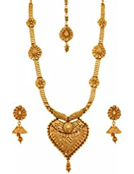 JFL - Traditional Ethnic One Gram Gold Plated Spiral Designer Long Necklace Set / Jewellery Set With Jhumka Earrings...