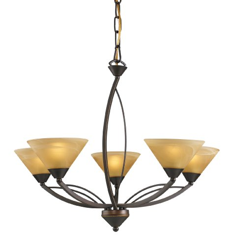 Elk 7647/5 5-Light Chandelier In Aged Bronze and Tea Swirl Glass