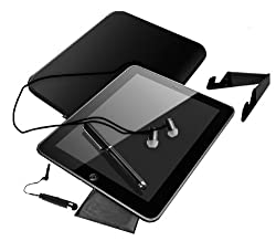 Universal Tablet Accessory Combo Kit (Neorene Sleve, Tablet Stand, Earbuds, Stylus, Mini Stylus, Microfiber Cleaning Cloth) Tablets for Galaxy Tab Pro, Apple iPad 1 2 3 4 Air Retina Display, Nexus 10 Asus, Sony Xperia, Nokia Lumia, HTC View, Motorola Xoom