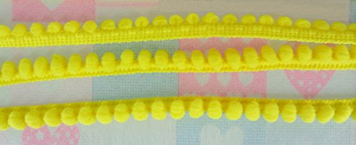 Lemon Yellow Mini Pom Pom Fringe Embroidered Lace Trim Braid Woven Ball Pompom Sewing Tape Ribbon