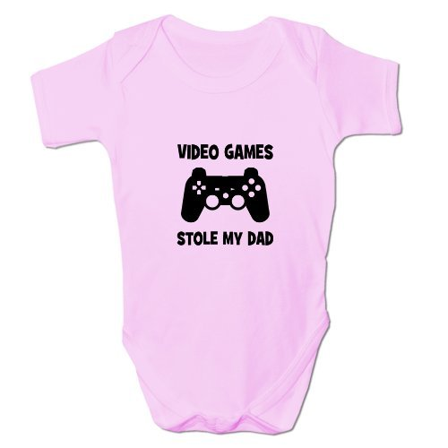 Bang Tidy Clothing Baby Grow Video Games Stole My Dad Clothing 6-9 Months Pink