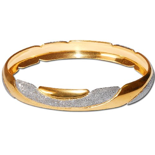 Gold and Rodium Plated Bangle Bracelets Womens Costume Jewelry in Indian-Style 2.5 inches (cban021a)