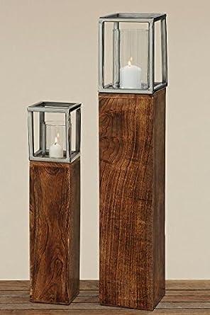 Boltze 4128900 Home Living Holz Windlicht Saule Fur Grosse Teelichter