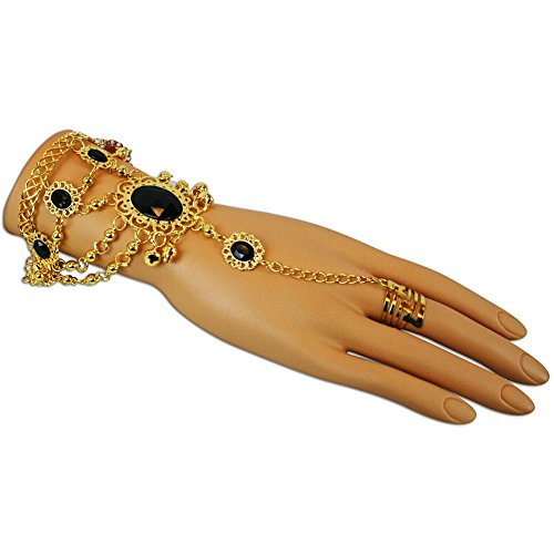 Gold Jeweled Adjustable Finger Ring and Slave Hand Chain Bracelet One Size Fits All