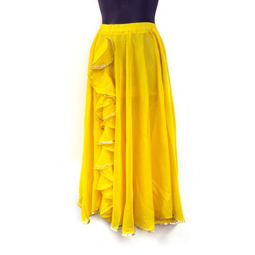 Performance Belly Dance Tango Salsa Long Chiffon Sequin Edge Ruffle Slit Skirt - YELLOW SILVER [KID SIZE]
