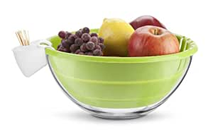 Cuisaid Glass Fruit/Salad Bowl With Silicone Colander & Clip On Holder