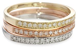 10k Tri-Colored Gold Diamond Stack Ring (1/4 cttw, J-K Color, I2-I3 Clarity), Set of 3, Size 7