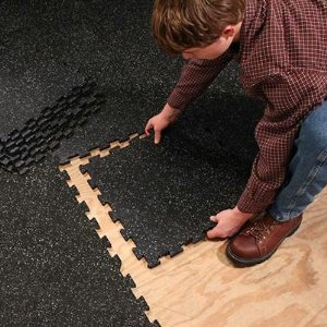 SuperMats 4 Pieces of Solid Black Rubber Interlocking Floor Mats Pack (19.5-Inch x 19.5-Inch)