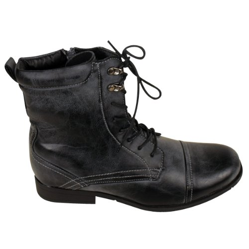 mens faux leather army boot combat lace up worker