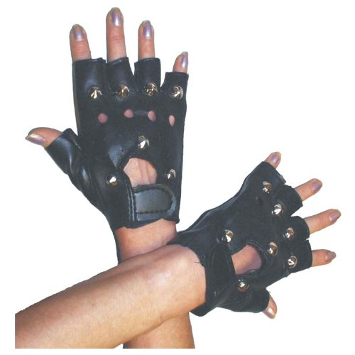 Black Punk Gloves with Studs for 80s Fancy Dress