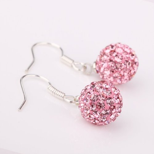 10MM Pink Crystal Ball 925 Sterling Silver Dangle Earrings