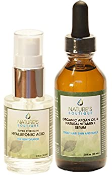 buy Twin Pack Anti-Aging Kit! Our Most Popular Facial Moisturizer Hyaluronic Acid Serum And Exotic Liquid Gold, Certified Organic* Moroccan Argan Oil