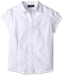 Nautica Big Girls\' Uniform Ruffle Placket Blouse, White, 7