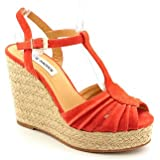 Steve Madden Mammbow Womens Size 10 Orange Suede Wedge Sandals Shoes