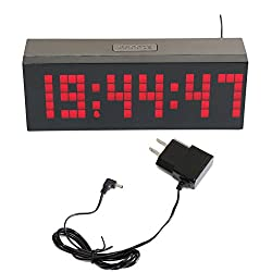 T Tocas Big Numbers Digital LED Snooze Wall Desk Alarm Clock with Countdown, Thermometer ,Calendar (Red LED Display)