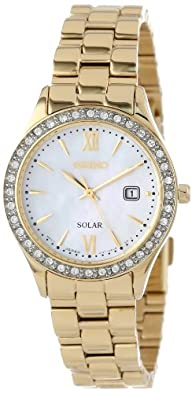 Seiko Women's SUT076 Gold-Tone Stainless Steel and Swarovski Crystal Solar Watch