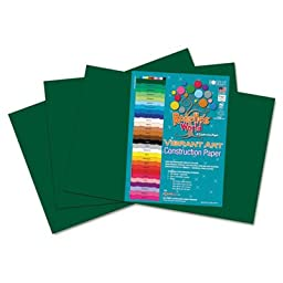 Heavyweight Construction Paper, 58 lbs., 12 x 18, Dark Green, 50 Sheets/Pack, Sold as 50 Sheet