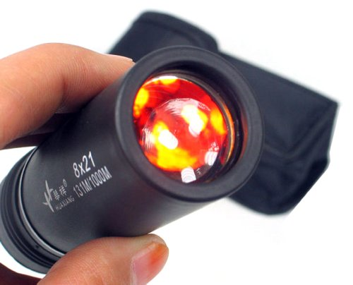 Nuoya001 New 8X21 Adjustable Focus Rubber Coated Red Lens Monocular Telescopes Dach Prism (Include A Cycling Reflective Band As Gift)