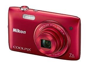 """Nikon Coolpix S3500 Appareil photo numérique compact 20,1 Mpix Ecran 2,7"""" Zoom optique 7x Rouge"""
