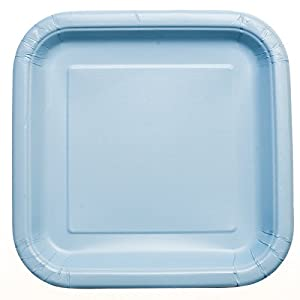 """9"""" Baby Blue Square Plates"""