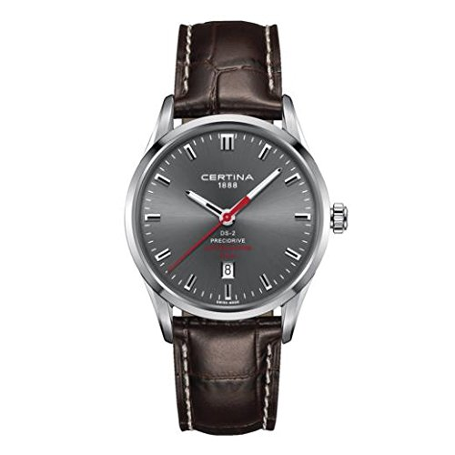 Certina Men's 40mm Brown Leather Band Steel Case Quartz Grey Dial Analog Watch C024.410.16.081.10