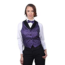 Women\'s Purple Metallic Tuxedo Vest with Black Lapel-Medium