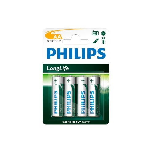 Philips R6-UM3 AA Zinc Carbon Battery, 4er Blister