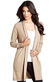 Pure Cashmere Open Front Long Sleeve Knitted Cardigan