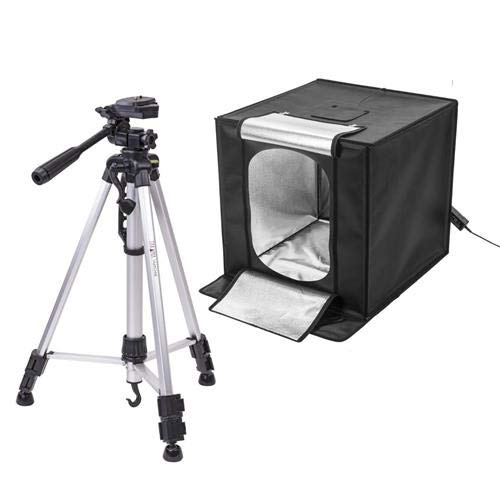 Glow LED Studio-Cube Portable Shooting Tent with Dimmer (27) + 58 3 Section Tripod with 3-Way Head (Tamaño: 27 Tripod Kit)