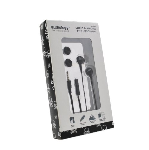 Audiology Au-165-Bc In-Ear Stereo Earphones With Microphone For Mp3 Players, Ipods And Iphones (Black)