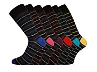 6 Pairs - Mens Pierre Calvini Multi Stripe Luxury Cotton Rich Socks
