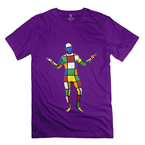 Fashion Melting 3-D Rubiks Cube Mirror Men's Tshirt Purple Size L (Kitchenaid Toaster Oven Large compare prices)