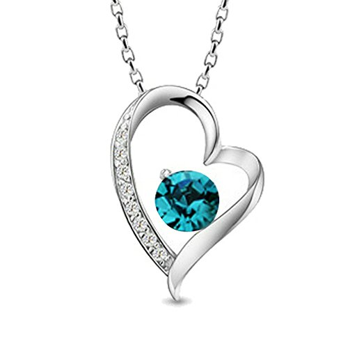 Yoursfs 18K White Gold Plated Unique Heart Shape Pendant Shinning Round Green Crystal Necklaces