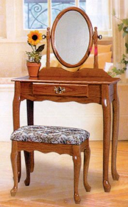 CHERRY FINISH WOOD VANITY SET - TABLE WITH MIRROR AND BENCH