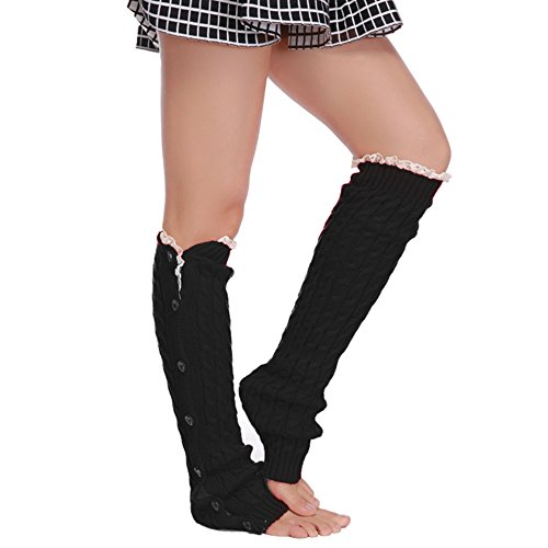 Zeagoo Womens Crochet Knitted Boot Cover Leg Warmers Socks Lace Trim Stocking