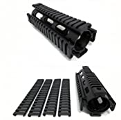 AR-15 Quad Rail Handguard, Carbine Length, 2 Piece Drop-In, with Snap-On Ladder Rail Covers, Black