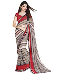 101cart Classy Grey Colored Printed Faux Georgette Saree