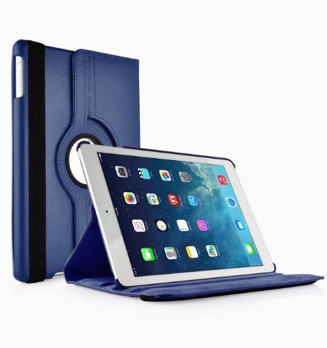 Smart-Cover rotante 360 ° Custodia case in pelle PU con supporto per Apple iPad Air (BLU Per iPad Air / 5) Slim e Girevole più Pennino e Pellicola Omaggio