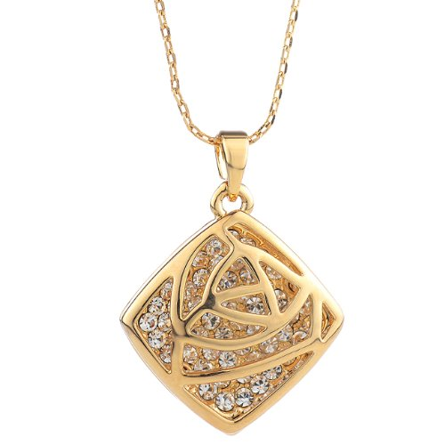 Neoglory Jewelry Wholesale Locket Necklaces for Girls Gold Plated Rhinestone Christmas Gift