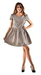 Oshea Grey Printed Skater Dress