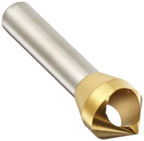 KEO 53513 Cobalt Steel Single-End Countersink, TiN Coated, 82 Degree Point Angle, Round Shank, 3/8