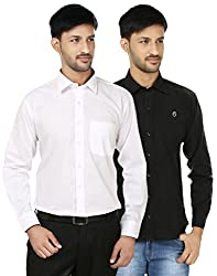 FOCIL White & Black Solid Full Sleeves Casual Shirt