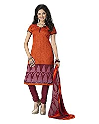 Clothing Deal Women's Cotton Silk Unstitched Dress Material (Orange)