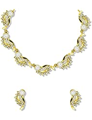 Zaveri Pearls Fascinating Gold Tone Necklace Set Adorned With Austrian Diamond & Pearls - ZPFK5206