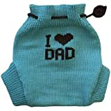100% Merino Wool Baby Knitted Soaker Diaper Cover (M, Aqua Blue-Dark Grey)