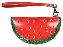 LittleKapsWorld Genuine Leather Watermelon Coin Purse Wristlet - Red