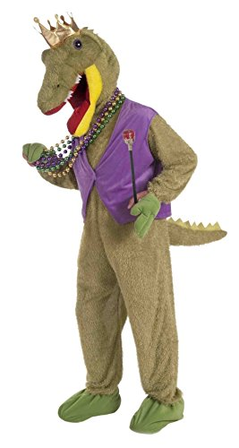 [Mardi Gras Alligator King Adult Costume Mascot Party Accessory Jumpsuit Beads] (Dragon Warrior King Adult Mens Costumes)