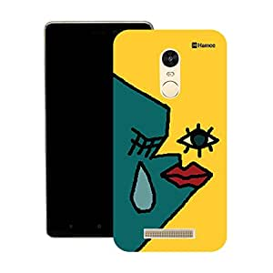 Hamee Original Japanese Designer Cover Thin Fit Crystal Clear Plastic Hard Back Case for Lenovo K5 Note (Blue Yellow Tear Face)